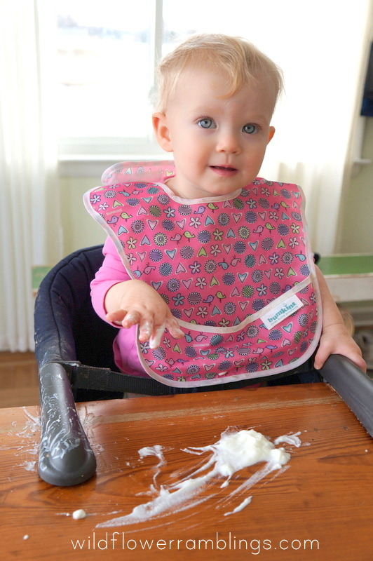 Playing with yogurt 21 Activities for One Year Olds - Baby Play - Wildflower Ramblings