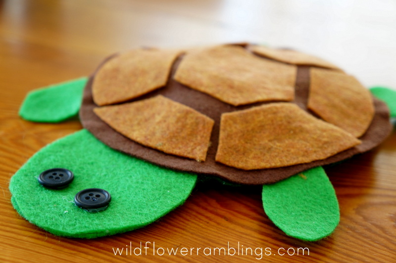 How to make a Felt Turtle {ABC Animals in Felt} - Wildflower Ramblings