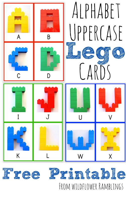 photograph relating to Free Printable Upper Case Alphabet Template titled Alphabet Lego Playing cards: Uppercase free of charge printable