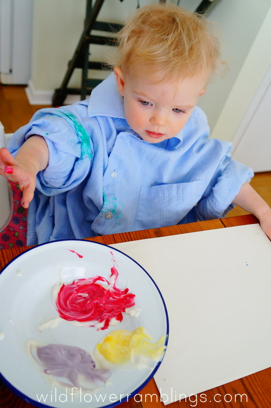 Edible Finger Painting for Baby from Wildflower Ramblings - 21 Activities for One Year Olds - Baby Play - Wildflower Ramblings