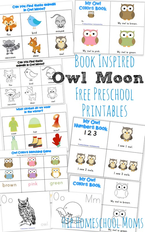 owl moon book inspired preschool printables from wildflower ramblings - Free Preschool Printable Books