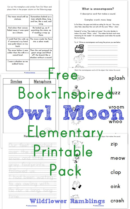 image about Homeschool Grade Book Free Printable named Owl Moon E book-Influenced Basic Printables - Wildflower