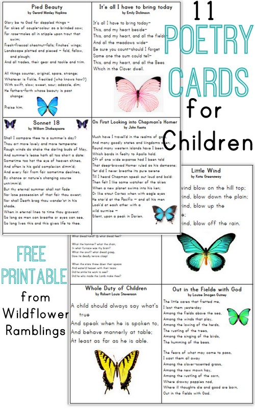 Recitation Cards: Poetry for Children {free printable!} from Wildflower Ramblings