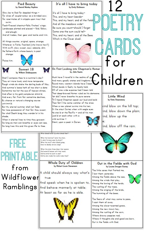 Recitation Cards: Poetry for Children {free printable ...