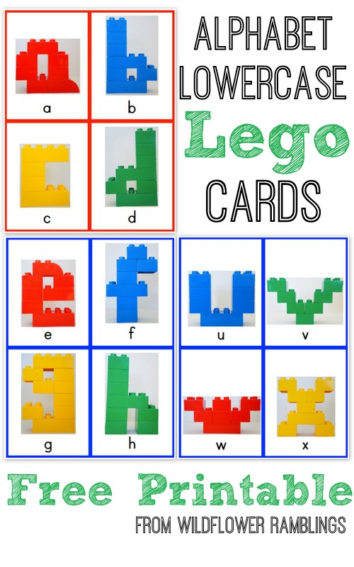 photograph about Free Printable Lower Case Letters identified as Alphabet Lego Playing cards: Lowercase cost-free printable