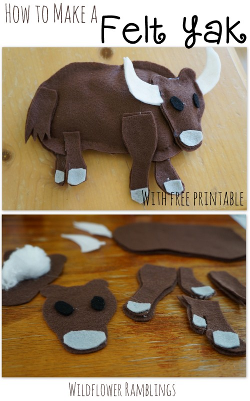 How to make a Felt Yak {ABC Felt Animals} - Wildflower Ramblings