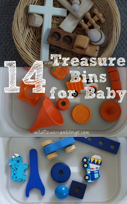 Treasure Bins for Baby - Wildflower Ramblings #baby play #montessori