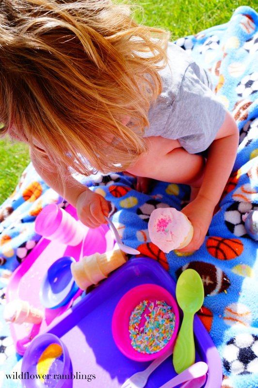 delicious & edible for baby! ice cream play dough shop - Wildflower Ramblings #sensory #babysafe