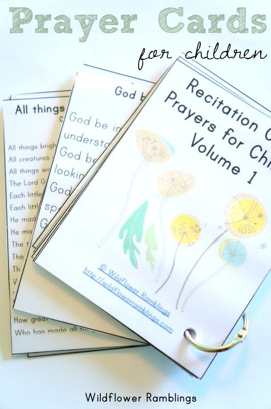 Prayer Cards for Children (or mamas!) FREE PRINTABLE -- from Wildflower Rambllings