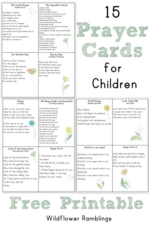 image relating to Prayer Printable referred to as Prayer Playing cards for Small children free of charge printable! - Wildflower