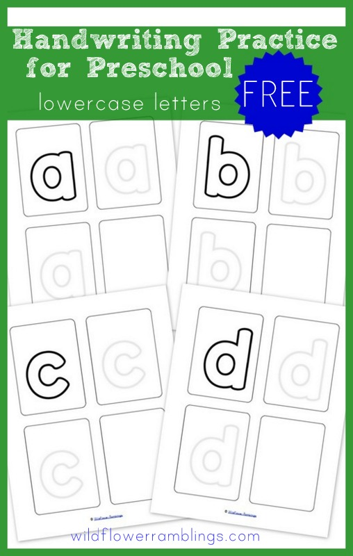 Lowercase Handwriting Practice for Preschoolers -- FREE printables from Wildflower Ramblings