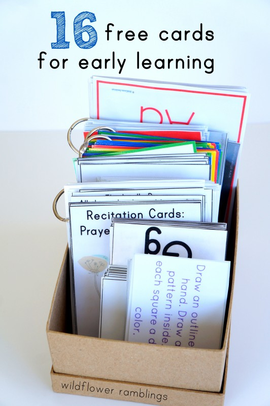 free cards for early learning - preschool memorizing - wildflower ramblings