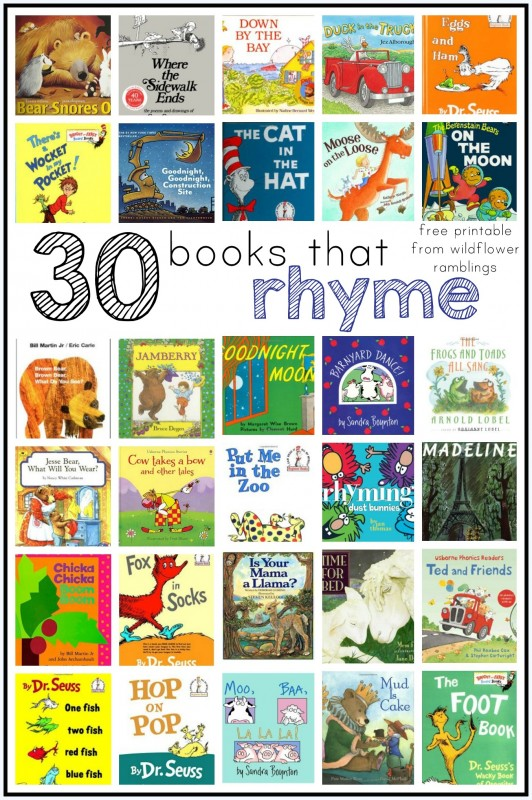 Books that RHYME for kids to develop phonological awareness!  Lots of rhyming ideas!