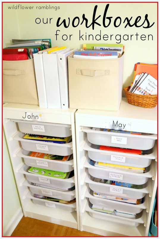 kindergarten workboxes for homeschool organization! kindergarten curriculum ideas!