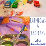 rainbows & racecars {with homemade edible paint}