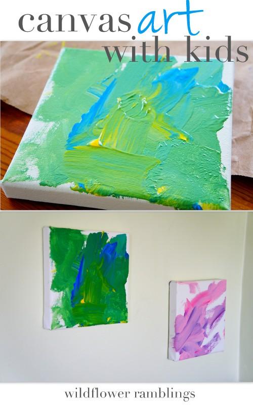 canvas art with kids - wildflower ramblings