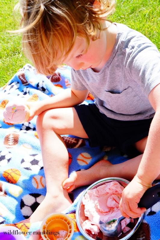 delicious & edible for baby! ice cream play dough shop - Wildflower Ramblings #sensory #babysafe