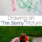 """drawing an """"I'm Sorry"""" picture {early writing skills}"""
