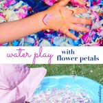 water play with flower petals