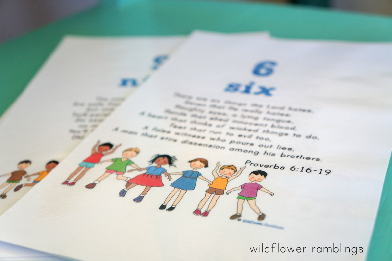 Bible Verses from 1 to 10 {free printable for children!} - Wildflower Ramblings