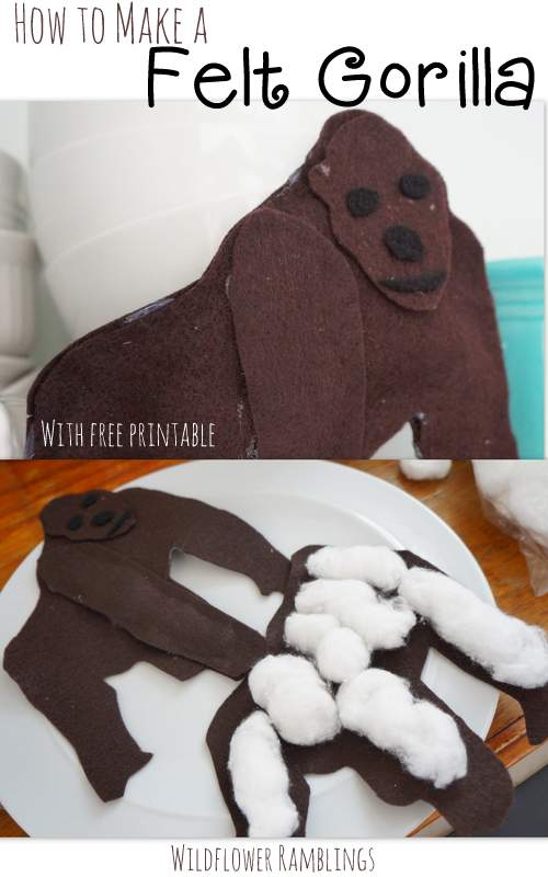 how to make a felt gorilla with FREE printable - wildflower ramblings