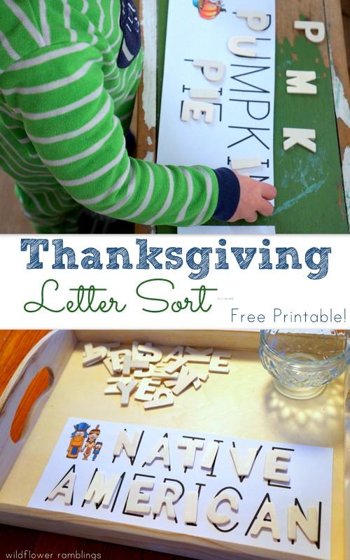 Thanksgiving Letter Sort Free Printable Preschool Activity!  Wildflower Ramblings