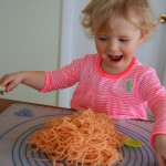 spaghetti sensory play for valentine's day