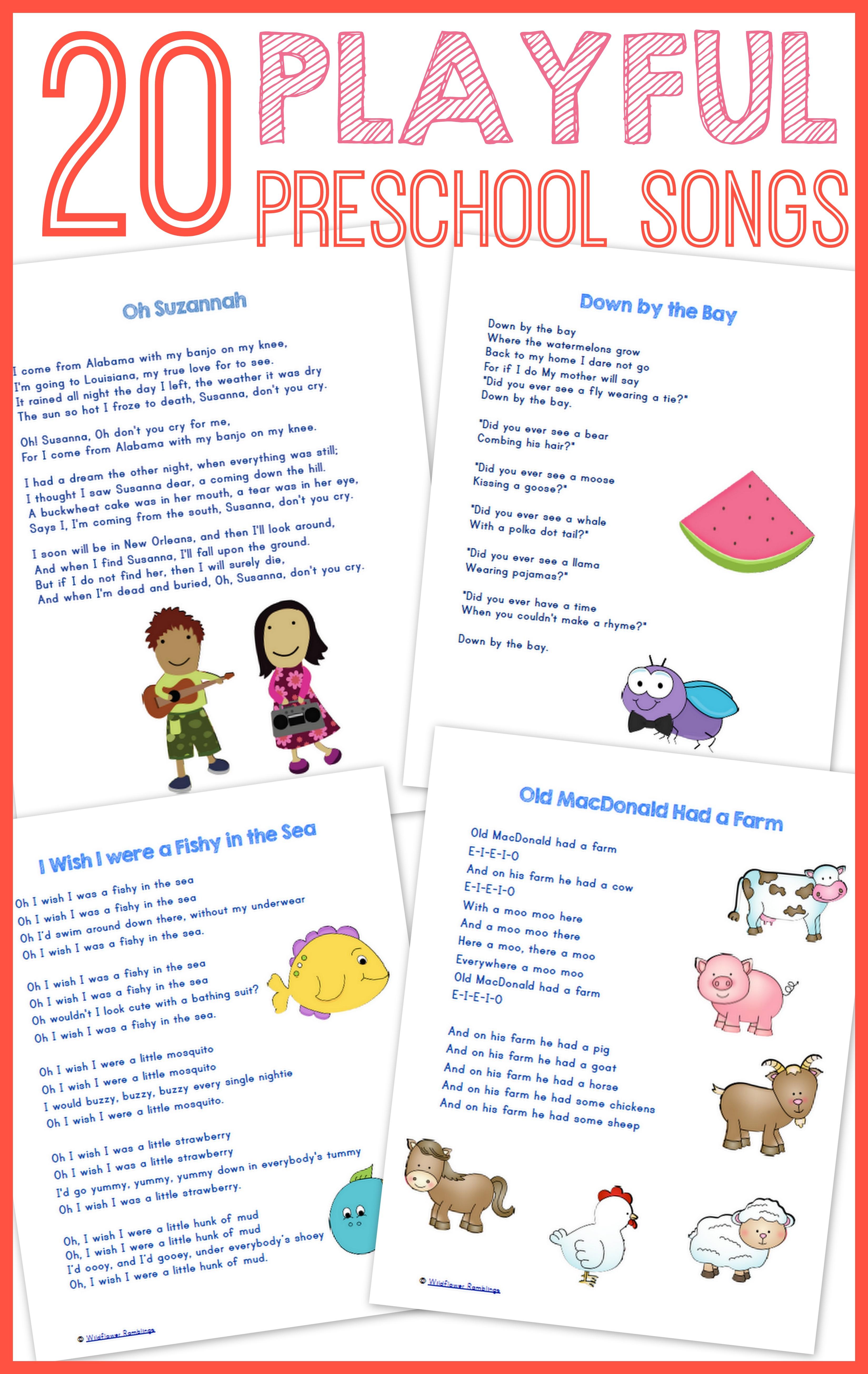 20 Best Preschool Songs {free printable!} - Wildflower ...