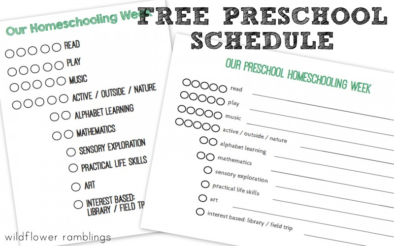 free preschool schedule for homeschooling!  great resource!