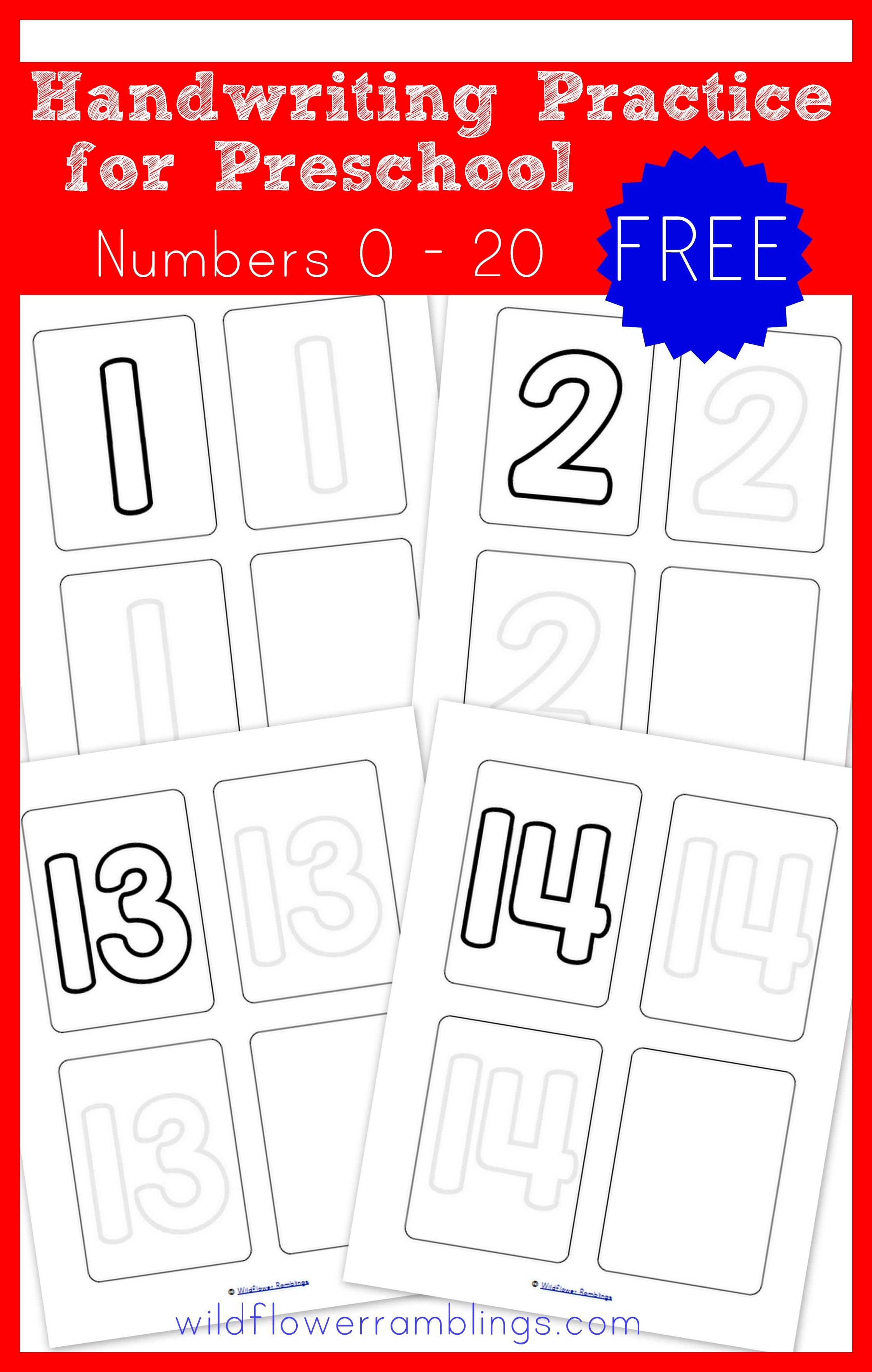 Preschool Handwriting Practice - Numbers {free printable ...