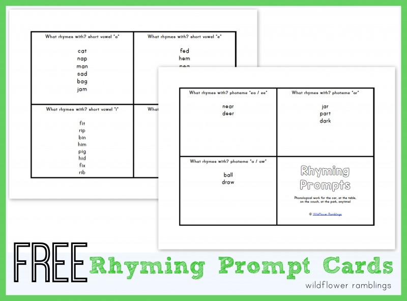 FREE rhyming prompt cards to develop phonological awareness!